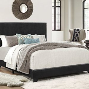 Crown Mark Erin Upholstered Panel Bed in Black, Full