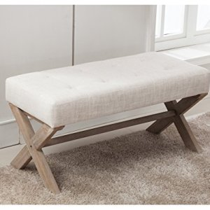 chairus Fabric Upholstered Entryway Bench Seat, 36 inch Bedroom Bench Seat with X-Shaped Wood Legs for Living Room, Foyer or Hallway by - Light Beige