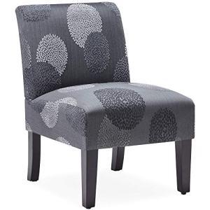 BELLEZE Curved Back Accent Slipper Chair Living Room Bedroom Upholstered Antique, Charcoal Sunflower