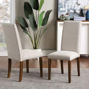 Dining Chairs Set of 2 Parsons Diner Chair Upholstered Fabric Dining Room Chairs with Copper Nails Kitchen Chairs