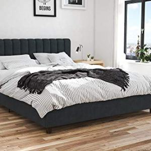 Novogratz Brittany Upholstered Bed, Blue Linen, Queen