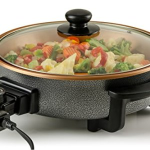 Ovente Electric Skillet 12 Inch with Non Stick Aluminum Body and Glass Cover, Adjustable Temperature Control, Easy to Clean, 1400 Watts for Pizza, Steak, Breakfast and More, Copper (SK11112CO)