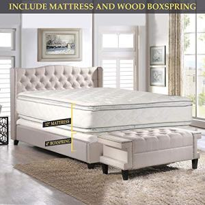 Double sided Pillowtop Innerspring Fully Assembled Mattress And 4-Inch Wood Box Spring/Foundation Set, Good For The Back