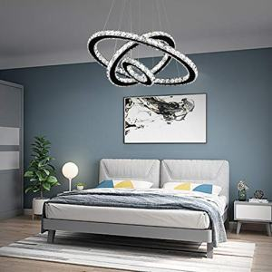 """Arxeel Modern Crystal Chandelier, Contemporary Led Ceiling Lights Fixtures Pendant Lighting for Living Room Bedroom Restaurant Porch Dining Room (3 Rings, Dia 27.5""""+19.6""""+11.8"""")"""