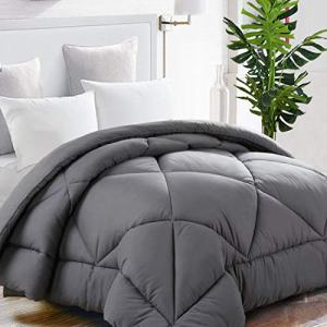 TEKAMON All Season Queen Comforter Summer Cool Soft Quilted Down Alternative Duvet Insert with Corner Tabs,Luxury Fluffy Reversible Hotel Collection,Charcoal Grey,88 x 88 inches