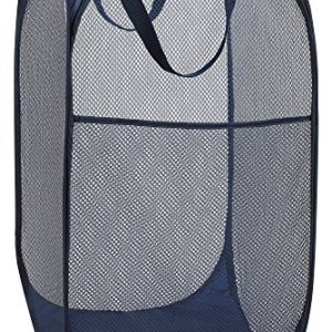 "Handy Laundry Collapsible Mesh Foldable Hamper 14"" x 14' x 24"" Navy Blue"