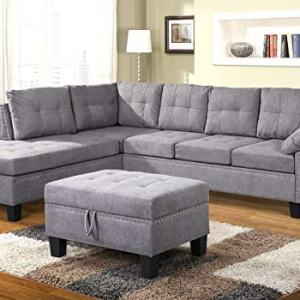 Merax Sectional Sofa with Chaise Lounge and Ottoman 3-Seat Sofas Couch Set for Living Room, Grey