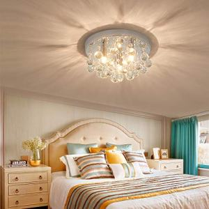 PUSU Crystal Chandeliers Lighting in Mini Modern Style Flush Mount Ceiling Light 3-Light Crystal Ceiling Lamp Fixture with G9 Lamp Holder for Hallway Bedroom Living Room Kitchen Dining Room.