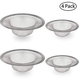 IHUIXINHE Stainless Steel Filter Trap, Sink Filter, Bathroom Tub Mesh Strainer, for Kitchen, Bathroom, Bathtub, Toilet, Wash Basin Drain, 2 Large & 2 Small (4 Pack)