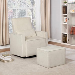 Naomi Home Lorraine Swivel Glider and Ottoman Set Cream/Microfiber
