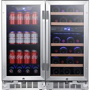 EdgeStar CWBV80261 30 Inch Wide 26 Bottle 80 Can Side-by-Side Wine and Beverage Center