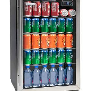 Igloo IBC41SS 180-Can Capacity Beverage Refrigerator and Cooler For Soda, Beer, Wine and Water LED-Lighted Digitally Controlled Double Pane Glass Door, Stainless Steel