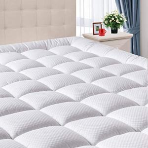 """DOMICARE Queen Mattress Pad Cover with Deep Pocket (8""""-21"""") - Cooling Pillowtop Cotton Quilted Mattress Pad - Down Alternative Hypoallergenic Fitted Mattress Topper"""