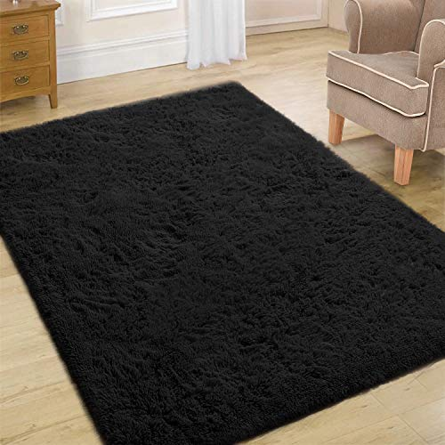 Toneed Area Bedroom Rugs, Indoor Modern Shaggy Ultra Soft| Carpet for Rooms |Room Decor |for Furry Plush Area Rug Kids Nursery Home Bedroom Floor (Black, 4 x 6 Feet)