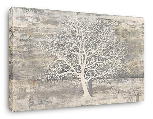 Yihui Arts Abstract Tree Canvas Wall Art: Large White Shadow Tree Picture Painting Print for Bedroom Modern Horizontal Wall Decor Idea Designs (Gray, 36Wx48L)