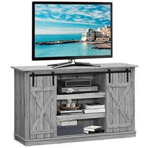 Tangkula TV Stand up to 60 Inches, Farmhouse Wood TV Stand with Sliding Barn Doors, Side Sliding Door & Height Adjustable Shelves, Wooden TV Cabinet for Home Living Room, Barn Door TV Stand (Grey)