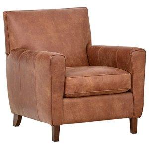 "Amazon Brand – Rivet Lawson Mid-Century Modern Angled Leather Arm Chair, 33""W, Saddle Brown"