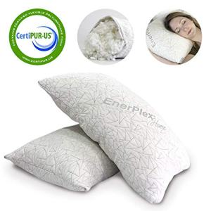 EnerPlex Never-Flat King Pillows 2-Pack, CertiPUR-US Certified Adjustable Shredded Memory Foam Luxury King Size Pillow, Machine Washable, Bamboo Cover, 36x20 Lifetime Promise, Will Not Go Flat