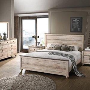Roundhill Furniture Imerland Contemporary White Wash Finish 5 Piece Bedroom Set,