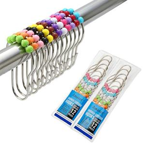 Amazer 2 Pack Shower Curtain Hooks Rings, Stainless Steel Rust-Resistant Shower Curtain Rings and Hooks-Set of 24-Colorful