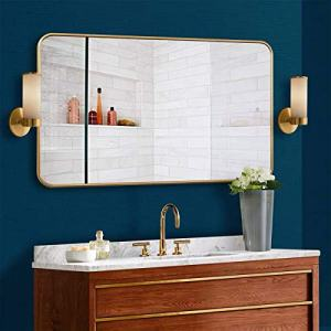 "MDEPYCO Simple Metal Wall Mounted Bathroom Toilet Mirror, Clothing Store Fitting Mirror, Living Room Decor Mirror, Bedroom Dressing Table Cosmetic Mirror,Home Entryway Mirror (Gold, 47.2"" x 24"")"