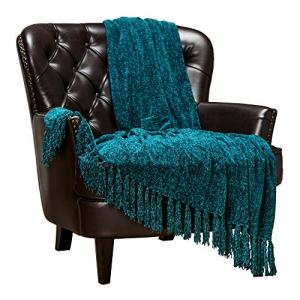Chanasya Chenille Velvety Texture Decorative Throw Blanket with Tassels Super Soft Cozy Classy Elegant with Subtle Shimmer for Chair Couch Bed Living Bed Room Blue Throw Blanket (50x65 Inches) Teal
