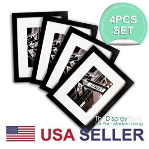 THE DISPLAY GUYS 11x14 Set of 4 Solid Pine Wood Photo Frame with Tempered Glass (Matte Black)