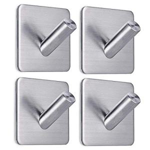 Adhesive Hooks Wall Hooks Heavy Duty Wall Hangers Stick On Hooks for Hanging Bathroom Home Kitchen Office -4 Packs