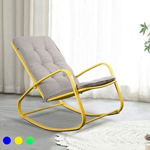 LUCKWIND Outdoor Patio Rocker Chair Metal – Wide Ergonomic High Back Supportive Cushioned Fold Reclining Glider for Porch Balcony Yard Deck (Yellow)
