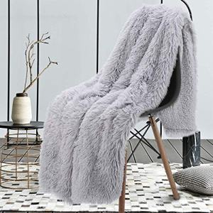 "junovo Super Soft Shaggy Longfur Faux Fur Blanket, Fuzzy Throw Blanket for Bed, Fluffy Cozy Plush Light Blanket, Washable Warm Furry Throw Blanket for Couch Sofa Chair Home Decor, 50""x60"" Sliver Grey"