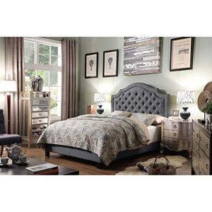 Rosevera Angelo Tufted Upholstered Panel/Platform Bed, Grey, Full