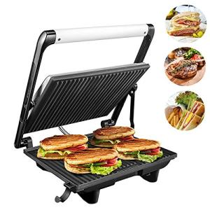 Panini Press Grill 1200W 4-Slice Extra Large Gourmet Sandwich Maker, Non-Stick Coated Plates, Stainless Steel Surface and Removable Drip Tray, AICOK