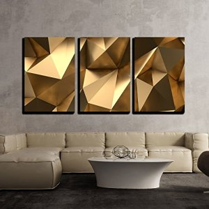 "wall26 - 3 Piece Canvas Wall Art - Luxury Gold Abstract Polygonal Background 3D Rendering - Modern Home Decor Stretched and Framed Ready to Hang - 16""x24""x3 Panels"