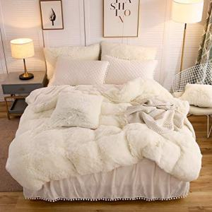LIFEREVO Luxury Plush Shaggy Duvet Cover Set (1 Faux Fur Duvet Cover and 2 Pompoms Fringe Pillow Shams) Solid, Zipper Closure (King Light Beige)