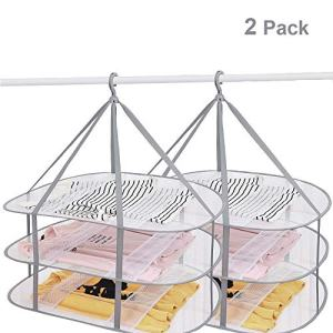 SUNTRY (2 Pack) 3-Tier Folding Clothes Drying Rack, Windproof Foldable Cloth Dryer with Fixing Band, Collapsible Hanging Laundry Rack for Sweater - Outdoor, Indoor, Potable