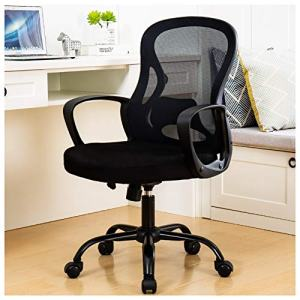 BERLMAN Ergonomic Mid Back Mesh Office Chair Adjustable Height Desk Chair Swivel Chair Computer Chair with Armrest Lumbar Support (Black)