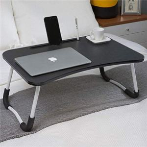 Foldable Laptop Bed Table, Large Laptop Desk for Bed, Bed Tray for Eating and Laptops, Collapsible Breakfast in Bed Tray, Space Saving for Working, Reading, Writing on Couch, Floor, Tatami (Black)