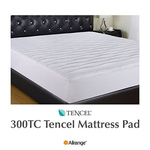 "Allrange 300TC Cool Tencel Clean&Safe Quilted Mattress Pad, Stretch-up-to 22"", Fitted Tencel Polyester Fill, Silky Cotton Tencel Cover,Oeko-TEX Certified, TXL"