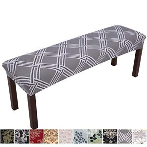 Comqualife Stretch Spandex Printed Dining Bench Cover - Anti-Dust Removable Upholstered Bench Slipcover Washable Bench Seat Protector for Living Room, Bedroom, Kitchen (Grey Geometric)