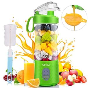 Olivivi Portable Blender, Multifunctional Personal Blender Mini Smoothie Blender 6 Powerful Blades, 4000mAh Rechargeable USB Juicer Cup Bottle with Strainer Cleaning Brush for Travel BPA Free Green
