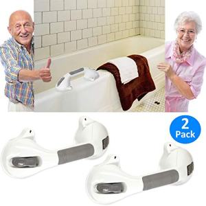 "AmeriLuck Suction Bath Grab Bar 12"" with Indicators, Bathroom Shower Handle (White, 2 Pack)"
