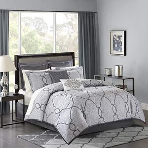 Madison Park MP10-4045 Lavine 12 Piece Jacquard Comforter Set, Silver, King