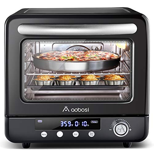 Air Fryer Oven Aobosi Electric Toaster Oven Convection Rotisserie Oven Roaster Countertop Rotisserie Oven Steam Oven Multi-Function 12-in-1 Toast/Bake/AirFry/Dehydrate/Roast/pizza 21Qt Recipe 1250W
