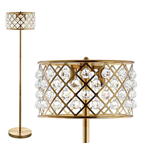 "JONATHAN Y JYL9000A Elizabeth 60"" Crystal/Metal LED Floor Lamp, Contemporary, Transitional for Bedroom, Living Room, Brass Gold"