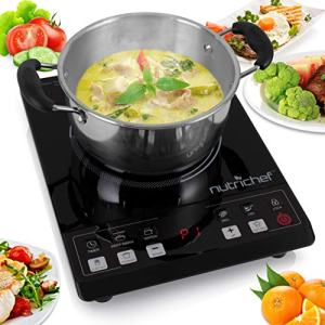 NutriChef PKST14.5 Small Appliance Countertop Burner, Infrared Cooktop, Ceramic Cookware, Electric Stovetop, Tempered Glass, LCD Display, Keep Warm, 1200W, 120V, Black/Chrome