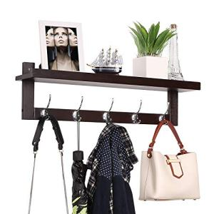 Homfa Bamboo Entryway Wall Shelf Hanging Shelf 29 in L, Wall-Mounted Coat Hook Rack with 5 Dual Metal Hooks for Hallway, Bathroom, Living Room, Bedroom, Dark Brown