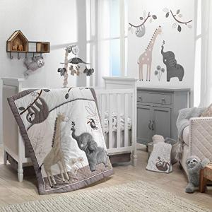 Lambs & Ivy Baby Jungle Animals 4-Piece Gray/White/Taupe Crib Bedding Set