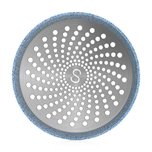STAN BOUTIQUE Drain Hair Catcher/Strainer/Trap/Stopper   Shower Stall Drain Protector - Stainless Steel and Silicone, 4.7 Inches - Blue