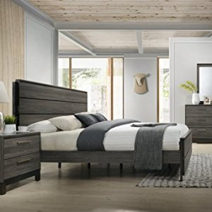 Roundhill Furniture Ioana 187 Antique Grey Finish Wood Bed Room Set, Queen Size Bed, Dresser, Mirror, Night Stand