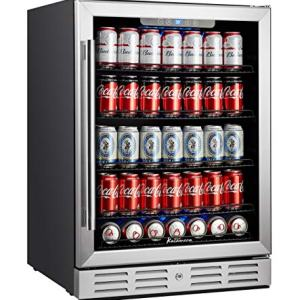 "Kalamera 24 inch Beverage Refrigerator - 175 Cans Capacity Beverage Cooler- Fit Perfectly into 24"" Space Built in Counter or Freestanding - for Soda, Water, Beer or Wine - For Kitchen or Bar with Blue Interior Light"